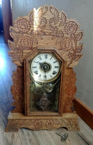 Working Mint Antique Gilbert Rose Gingerbread 8 Day Mantle Kitchen Clock, Alarm