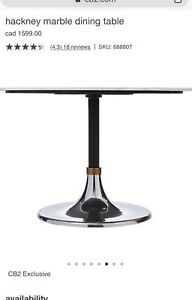 Hackney Cb2 marble dining table new