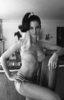 1960s Doris Nieh negative, sexy brunette pinup girl Joy McCoy in bikini, n300054