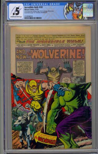 Incredible Hulk #181 CGC 0.5 OW-W Marvel-1974