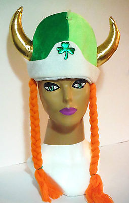 ST PATRICKS DAY IRISH VIKING STYLE HAT w/BRAIDS AND SHAMROCK CENTER PIECE 2 TONE](St Patricks Day Centerpieces)