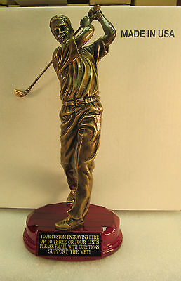 """GOLF TROPHY BRONZE 9 3/4"""" TALL ROSEWOOD BASE FREE CUSTOM ENGRAVING 2 DAY MAIL"""