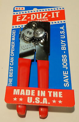 EZ-DUZ-IT #88 American Made Deluxe Can Opener.  Made in USA.  Red.
