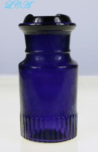 Deep AMETHYST colored ANTIQUE spice OR condiment JAR w/glass original CAVEAT lid