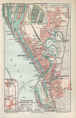 Landkarte map 1905: BREMERHAVEN GEESTEMÜNDE LEHE. Hanse-Stadt Weser Fluss