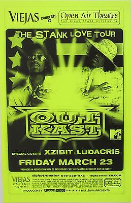 "OUTKAST / XZIBIT / LUDACRIS ""THE STANK LOVE TOUR"" 2001 SAN DIEGO CONCERT POSTER"