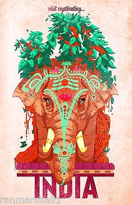 Captivating India Elephant Vintage Indian Asian Travel Art Advertisement Poster