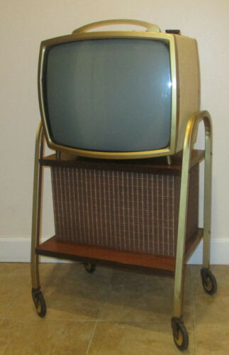 Vtg MCM 1963 Setchell Carlson Television TV w/ Matching Speaker Stand WORKS!!