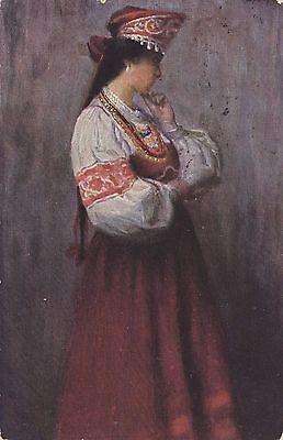 AK-Russland-Frau in Tracht-B.Vladimirskij: Reverie-gelaufen 1912