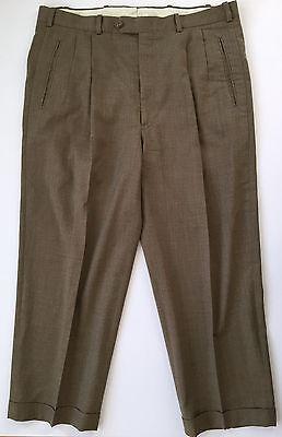 JB BRITCHES By Nordstrom Brown 100% Wool Pleated Mens Dress Pants Sz 37W x 26L