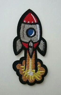 Retro Rocket Iron-on Patch Blast Off Nasa Space Ship Applique Vintage Style (Rocket Applique)