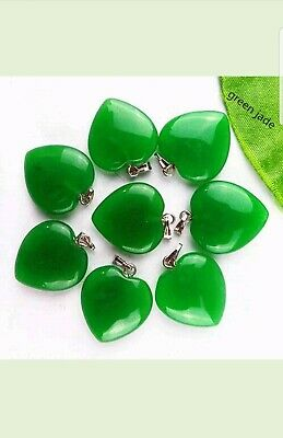 New! 20x20x5mm Brilliant Jade Gemstone Heart Pendant Bead Stone 22