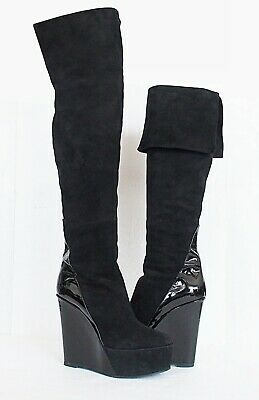 Pierre Hardy Platform Over The Knee Boot Suede Patent Leather  Size 38 US 8