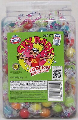 Cry Baby Candy (Cry Baby Extra Sour Bubble Gum Candy 240 Count Tub Babies Bulk 2.37 LB)