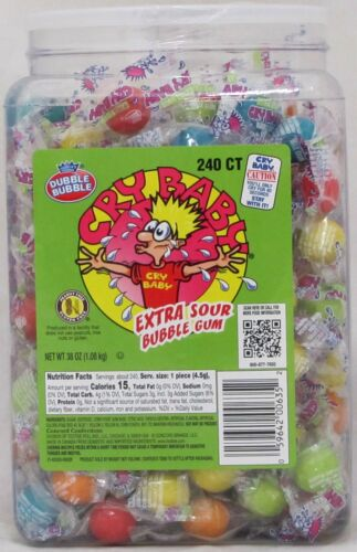 Cry Baby Extra Sour Bubble Gum Candy 240 Count Tub Babies Bulk 2.37 LB Chewing