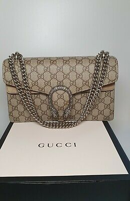 Gucci Dionysus GG Small Beige Taupe Coated Canvas Suede Chain Shoulder Bag