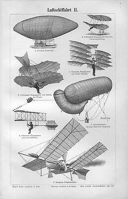 Luftschiffahrt Lilienthal  Flugapparat Luftschiff Ballon  Holzstich 1898