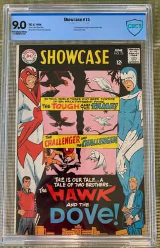 SHOWCASE #75 CBCS 9.0 -- EXCEPTIONAL WHITE PAGES!  1ST HAWK AND DOVE - Like CGC