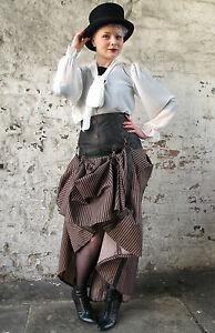 Jawbreaker-Steampunk-Victorian-High-Waist-Corset-Long-Skirt-Black-Bronze-Stripe
