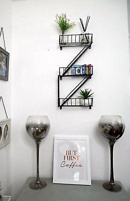 Unique Fire Escape Black Shelves Modern Ladder Wall Decor Home Indoor