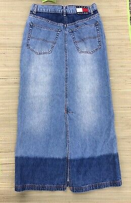 Vintage Tommy Hilfiger Jeans Maxi A Line Skirt Long Light Wash Denim Size 7 EUC