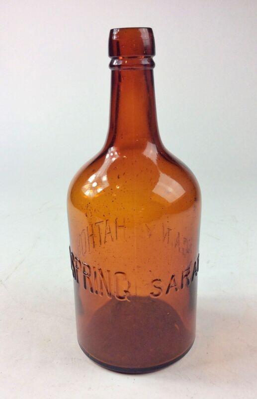 Antique Hathorn spring Saratoga N.Y. amber glass bottle mineral water non dug