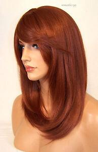 Large Cap Copper Red # 130 Full Wig Bangs Straight Razor Cut Skin Heat Safe Roma