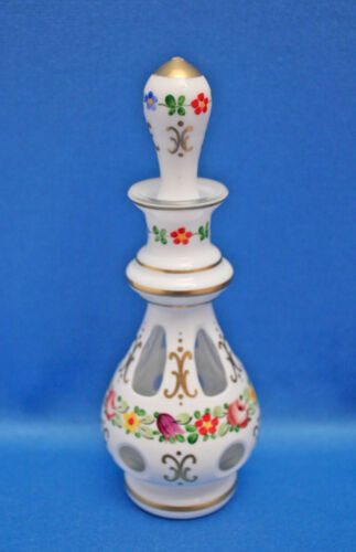 Vtg Czech Bohemian Cased Milk Glass Cut to Clear PERFUME BOTTLE+STOPPER Numbered