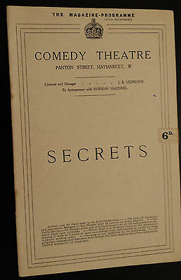 "1922 Comedy Theatre programme:  ""SECRETS"" by Rudolf Besier & May Eddington"