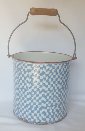 Antique Enamelware - Blue Droopy Check Bucket