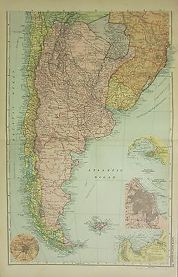 1912 LARGE ANTIQUE MAP ~ SOUTHERN  SOUTH AMERICA ~ BUENOS AIRES MONTEVIDEO