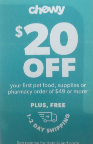 CHEWY: $20 Off $49 First Order Pet Food / Supplies / Pharmacy - Code [9/30/21]