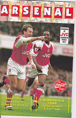 ARSENAL v HUDDERSFIELD TOWN  93-94 LEAGUE CUP MATCH