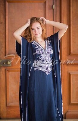 Navy Moroccan Abaya Sexy Kaftan Maxi Dress With Silver Embroidery Fits Up To 2XL for sale  Leander