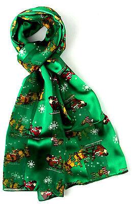 Santa & Reindeer Women's Scarf Holiday Satin Feel Sheer Christmas Green Scarves  ()