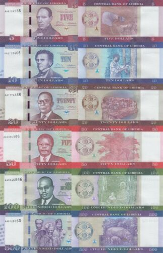 Liberia 6 Note Set: 5 to 500 Dollars (2016) - p31 to p36 UNC