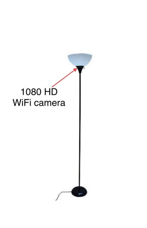 "Mainstays 71"" Metal Floor Lamp, Black, 1080HD WiFi Hidden Camera"