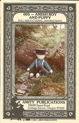 """Amity Publications Doll Craft Sewing Pattern AMISH BOY AND PUPPY  21"""" Character"""