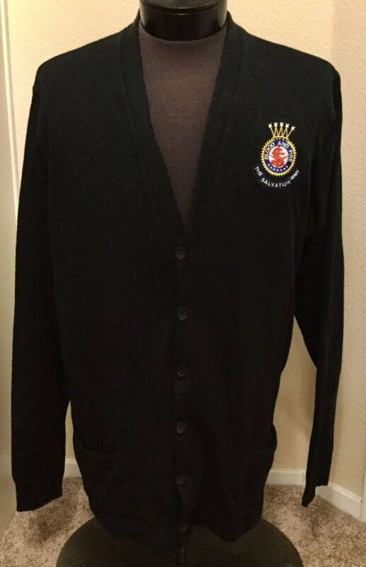 Vintage SALVATION ARMY 2XL Embroidered Crest Black Pockets Cardigan Sweater