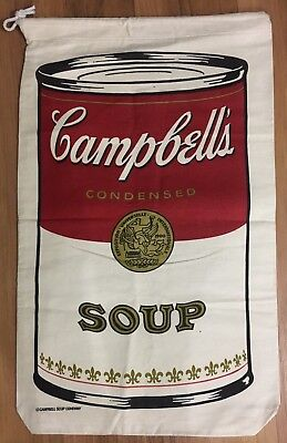 Andy Warhol VTG Vintage Campbells Soup Canvas Laundry Bag Sack Art Artwork Print