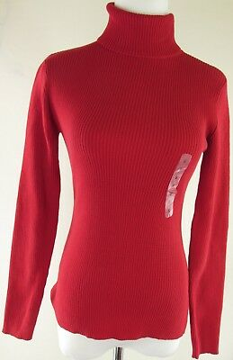 Leo Nicole Sweater Womens S Red Turtleneck 100% Cotton NEW (3742)