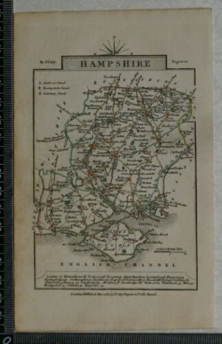 1814 Antique Map of Hampshire and I.O.W  by John Cary