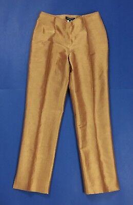 Diapositive paris pantalone donna usato FR 38 tg 42 w28 seta estivo oro T4126
