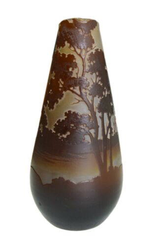 Antique Vase Emile Galle Signed Finest French Art Glass Cameo Landscape 1900-s
