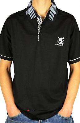 Mens Scotland Lion Tartan Collar Polo Shirt Black 2X-Large