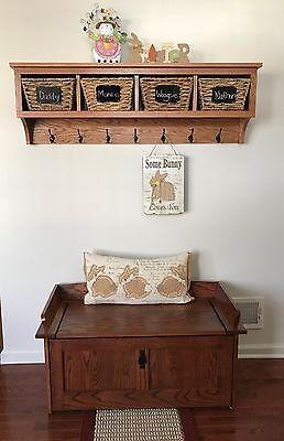 48 Wall Coat Rack (4 Cubby Oak Coat Rack Wall Hanging 48