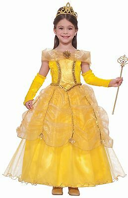 Princess Belle Designer Costume Girls Child Disney Gold - S 4-6, M 8-10, L 12-14 - Belle Costume Child
