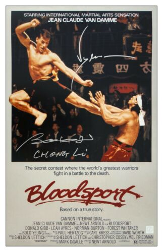 Jean Claude Van Damme & Bolo Yeung Autographed Bloodsport 16x24 Poster ASI Proof