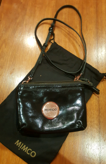 284d391085b4 Mimco Black and Rose gold Secret Couch Hip Bag -RRP  199