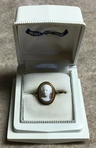 Vintage 14k high relief cameo ring